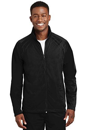 SPORT-TEK Men's Tricot Track Jacket L Black/Black