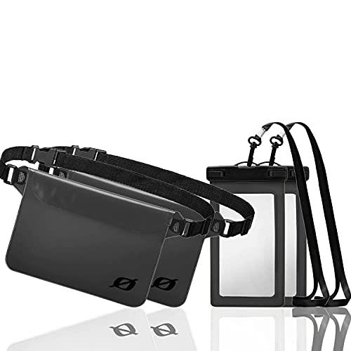 Wasserdichte Handyhülle und Wasserdichte Hüfttasche - je 2 Stück (Grau)   Handytasche für max. 8 Zoll Handys, Bauchtasche mit verstellbarem Gurt   wasserdichte Tasche für Wassersport, Strand