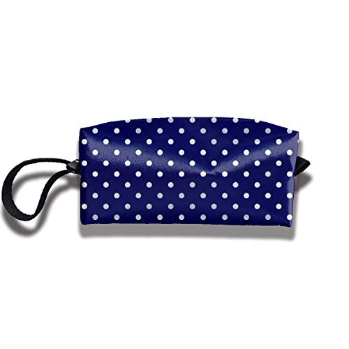 TRFashion Toiletry Bag Blue Polka DotsStorage Bag Beauty Case Wallet Cosmetic Bags Sac de Rangement Trousse de Toilette