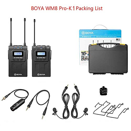 BOYA WM8 Pro-K1 UHF Wireless Lavalier Microphone System Audio Recorder with 1 Bodypack Transmitter, 1 Portable Receiver Compatible for Canon Nikon Sony Panasonic DSLR Camera,XLR Camcorder&Smartphone