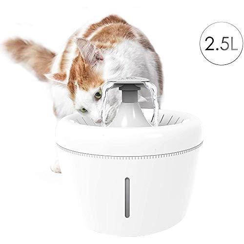 UNIIKE Haustier-Wasser-Brunnen 84Oz2.5L Automatische Katze Wasserbrunnen Dog Water Dispenser Austauschbare Quad-Filter-System nahezu geräuschlosen Betrieb