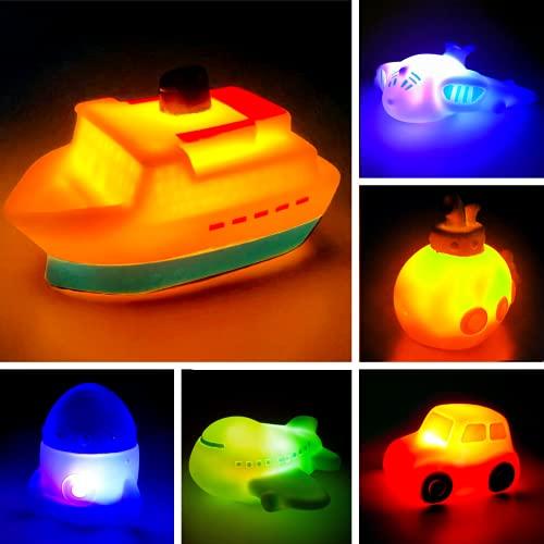 6 Packungen Light Up Boot Bad Spielzeug Set, Blinkende Farbe wechselndes Licht im Wasser, schwimmende Gummi Badewanne Spielzeug für Baby Kleinkind Wanne spielen, Boy Girl Kid Growing Pal im Duschbad