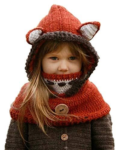 Maison Jardin Fille Enfants Chapeau Hiver Bonnet Fox avec Écharpe Automne Tricot Chapeau Chaud