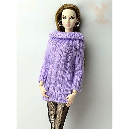 MeterMall Mode Puppe Mantel Einfarbig Strickpullover Tops f¨¹r 30 CM Puppe Zubeh?r M?dchen Geschenk purple