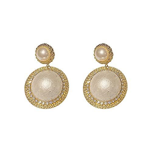 YULINGSTYLE Pendientes Mujeres Sterling Silver Aguja 925 Plata Redonda Pendientes geométricos de Perla de Diamante Completo-Golden