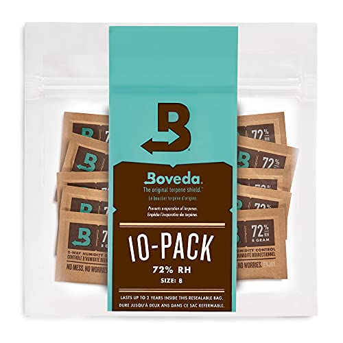 Boveda for Cigars/Tobacco | 72% RH 2-Way Humidity Control | Size 8 for Use with Up to 5 Cigars | Patented Technology For Cigar Humidors | 10-Count Resealable Bag