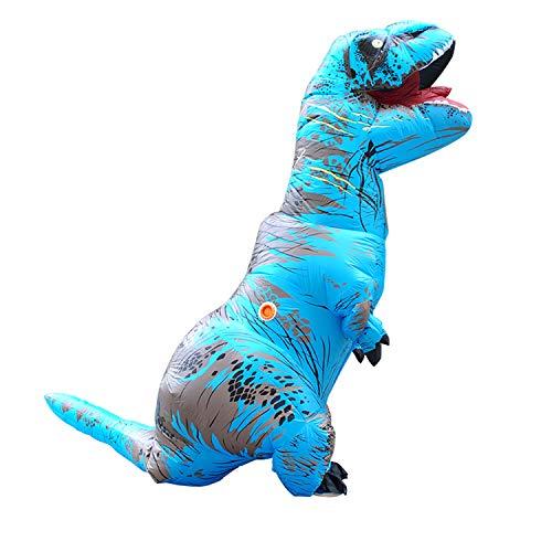 Qshine Adults T-Rex Inflatable Costume Fancy Dinosaur Suit Blow up Stegosaurus Jumpsuit Halloween Cosplay Costume (Free Size, Blue)