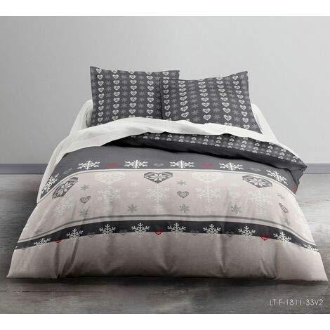 J&K Markets - Funda de edredón de franela (240 x 260 cm, 2 personas, 100% algodón franela + 2 fundas de almohada), tacto muy suave