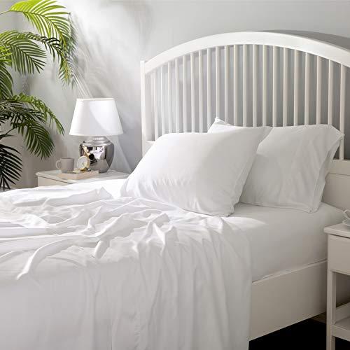 Bedsure 100% Bamboo Sheets Set Full Size White - Cooling Bamboo Bed Sheets for Full Size Bed with Deep Pocket 4PCScs