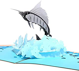 HUNGER Handmade 3D Pop Up Sailfish Birthday Cards Creative Greeting Cards Papercraft