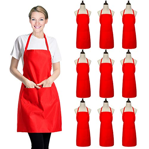 Xeeyaya 9 Pack Bib Christmas Red Apron for Women Girls Ladies with Pockets - Kitchen Aprons Bulk for Cooking Painting BBQ Grilling Baking (9 Pack, Red)