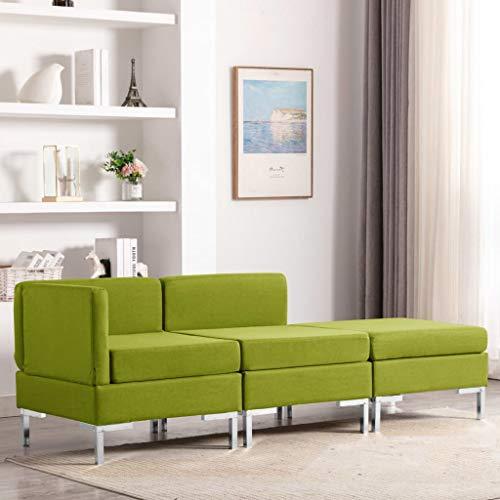 Benkeg Juego de Sofá de 3 Plazas Tela Verde 65 x 65 x 65 cm, Sofá de Salon Barato, Sofá Barato Sofás Cheslong
