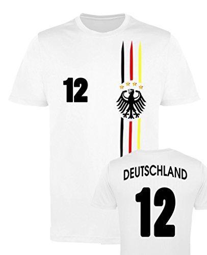 Comedy Shirts EM WM | M1 | Deutschland 12 - Jungen Trikot - Weiss/Schwarz-Rot-Gelb Gr. 152-164
