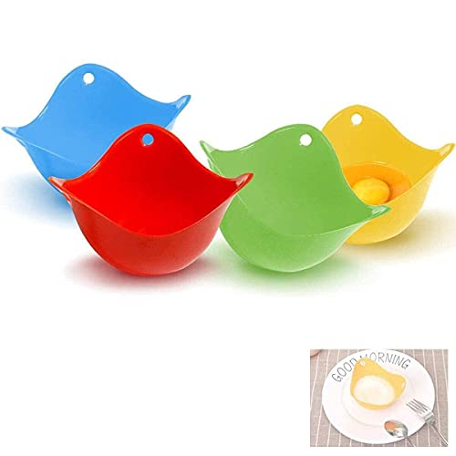 4pcs Cocedor Huevos, Silicona Cocer Huevos Poche, Escalfadores De Huevos Molde para Escalfador Huevos, Utensilios de Cocina para Microondas, Cacerola o Vaporizado