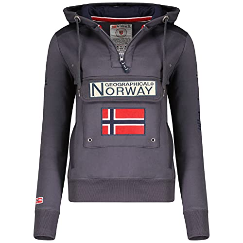 Geographical Norway GYMCLASS Lady - Sudadera para Mujer, con Capucha y Bolsillos Canguro, Manga Larga, Informal y cálida, Deportiva (Gris Oscuro, S)