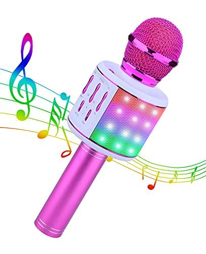 ShinePick Karaoke Microfono Bluetooth per Bambini con Luci LED, Karaoke Portatile Senza Fili per Cantare, Cambia Voce, Registrazione, Altoparlante per Adulti e Bambini, Compatibile con Android IOS PC