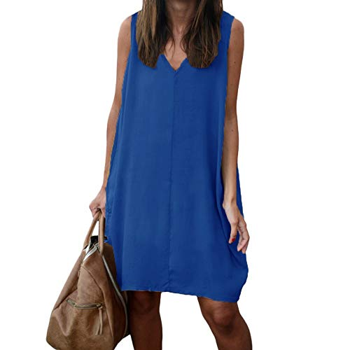 MEILINVREN Jurken, Zomer Jurk Vrouw Mode V Neck Casual Mouwloos Strand Jurk Feestjurken Voor Vrouwen Grote Maten Vestidos Vrouwen Kleding Blauw