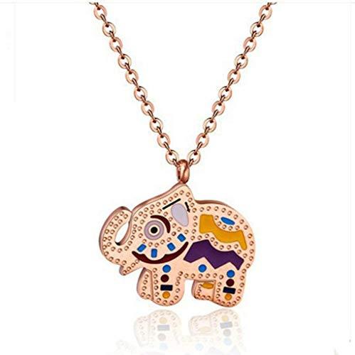 Collar de oro rosa de 18 quilates de color elefante para bebé, joyas femeninas con esmalte coreano con cadena de clavícula corta