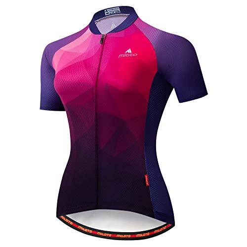 MILOTO Damen Radtrikot Kurzarm Reflektierendes Biking Tops - Violett - S (Brust = 82 cm)