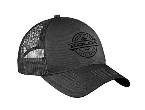 Koloa Surf Thruster Logo Old School Curved Bill Mesh Snapback Hat-Charcoal/b