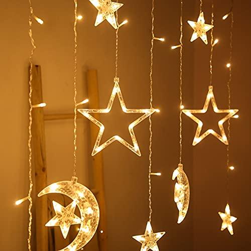 YeongShe - Guirnalda de luces de hadas para dormitorio, luz cálida, diseño de luna de cinco estrellas