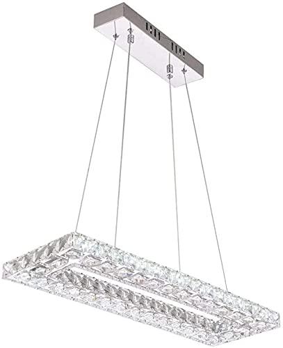 TSUSF Lámpara Colgante Rectangular Lámpara Colgante De Cristal LED Mesa De Comedor Lámpara Colgante Regulable Control Remoto Lámpara De Comedor Lámpara Colgante De Altura Ajustable Lámpara