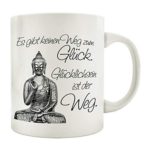 Interluxe Tasse Kaffeebecher ES GIBT KEINEN Weg ZUM GLÜCK Spruch Geschenk Buddha Vintage