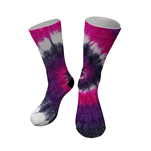 Women's Purple Pink Spiral Tie Dye Cotton Performance Cushion Novelty Athletic Sport Crew Socks