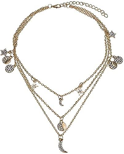 SMEJS Necklace Crystal Vintage Zircon Star Moon Girlfriends Send Girlfriend Gift Ornaments Necklace