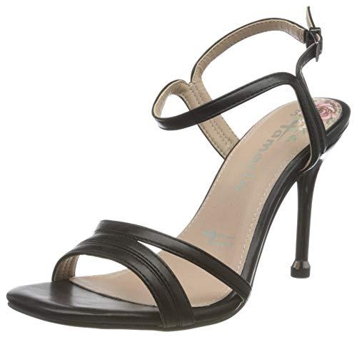 Tamaris 1-1-28321-24, Sandali con Cinturino alla Caviglia Donna, Nero Opaco Comb 033, 38 EU