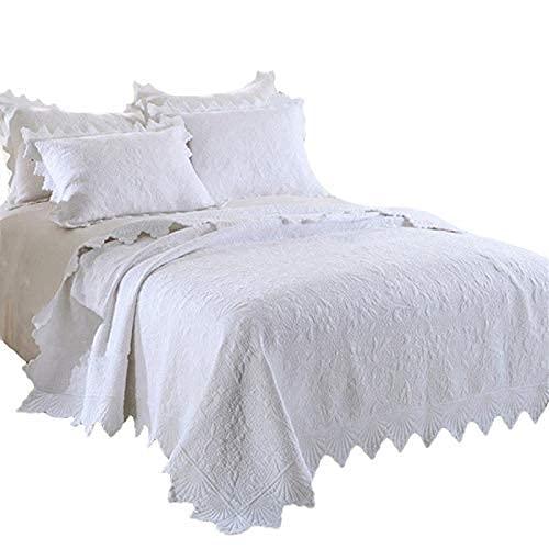 Edredones de verano multifunción con bordado de calidad doble, 3 piezas, 100% algodón lavado, acolchado, manta, manta, funda de cama (230 * 250 cm), funda de almohada, (48 * 74 cm, sábanas tamaño king