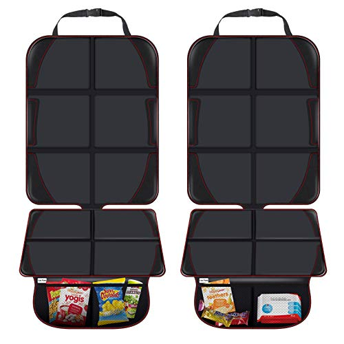 Car Seat Protector, XL Thickest Padding Auto Car Seat Protectors for Child Baby Car Seat with Storage Pockets, Vehicle Dog Cover Pad for SUV, Sedan, Truck, Leather and Fabric Car Seat, 2 Pack