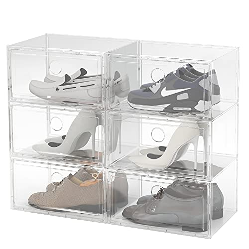 6 Pack Large Shoe Storage Box, Shoe Boxes Clear Plastic Stackable, Shoe Organizer Bins, Clear Containers Organizers for Sneaker Fit up to Size 12 (Clear)