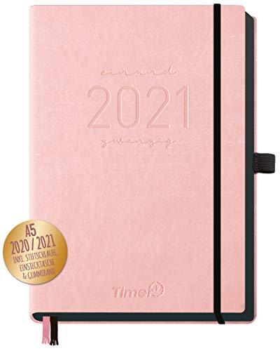 Chäff-Timer Deluxe Kalender 2020/2021 A5 [Rose] Terminplaner 18 Monate: Juli 20 - Dez. 21 | Terminkalender, Wochenplaner mit Stiftschlaufe, Gummiband & Einstecktasche | nachhaltig & klimaneutral
