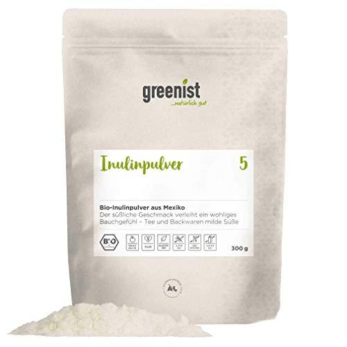 greenist polvere di inulina organica 300 g, fibra, dal Messico, in un sacchetto ecologico