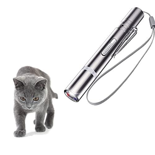 OUTERDO Puntatore LED, Gatti Giocattoli,Interactive Animale Giocattolo Mini Torcia Esercizio USB Ricaricabile 3 in 1 Funzione per Gatti e Cane