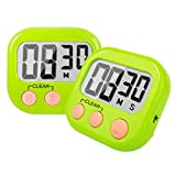 Kitchen Timer 2 Pack Small Digital Magnetic Timer for Cooking, Teachers, Kids (Green)