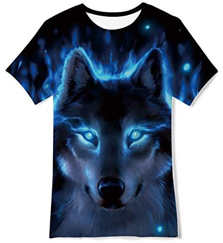 FanientT-Shirt pour Enfants à Manches Courtes pour Enfants Motif Loup imprimé 3D T-Shirt pour garçons/Filles