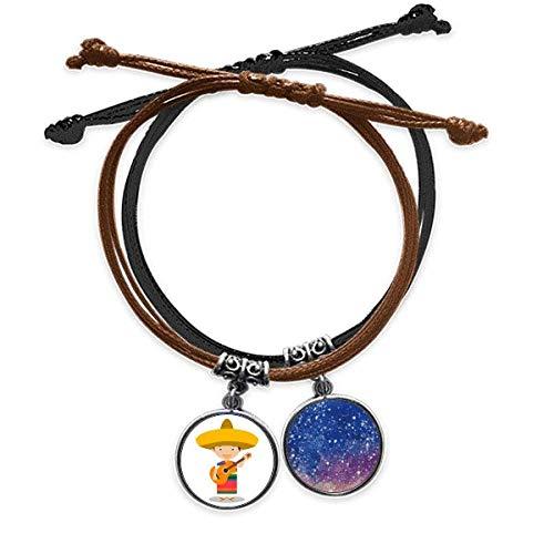 Bestchong Armband mit Hut, Gitarre, Mexiko, Cartoon, Handkette, Leder, Sternenhimmel-Armband