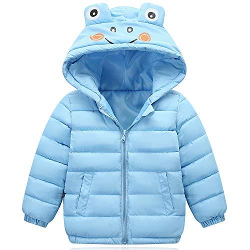 ZHOUZJ Abrigo de Plumas Niñas Niños Invierno Chaqueta Caliente Otoño Invierno Cortaviento con Capucha Unisex,Azul,120cm