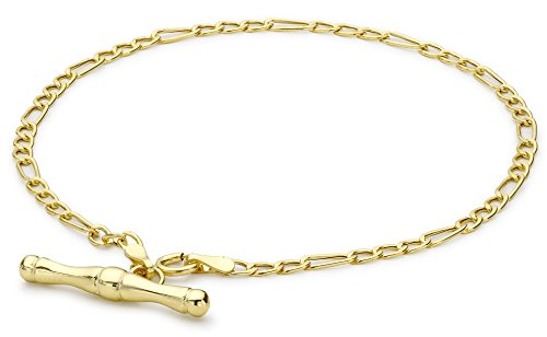 Carissima Gold Women's 9 ct Yellow Gold Hollow 2 mm Figaro Chain T-Bar Bracelet of Length 19 cm/7.5 Inch