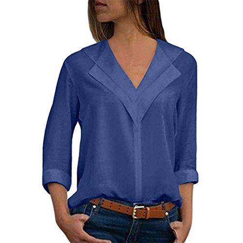 Blusa Gasa Mujer Verano, Forme a Mujeres la Camiseta sólida de la Gasa de la Oficina de Las señoras Plain Roll Sleeve Blusa Tops(L,Azul)