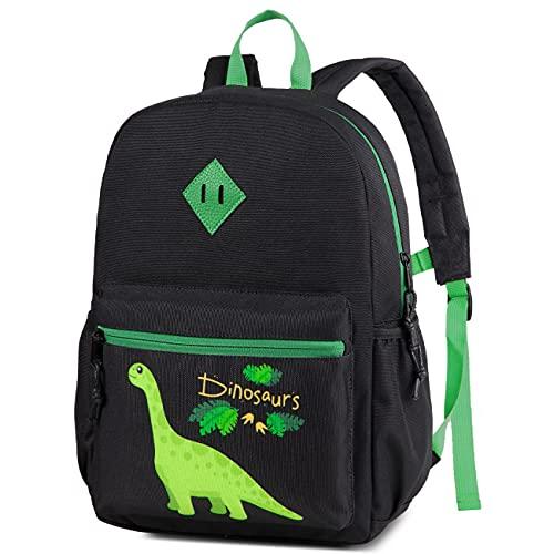 Kasgo - Zaino per bambini, leggero, per bambini e ragazze, con cinghia toracica Dinosauro nero. Taglia Unica