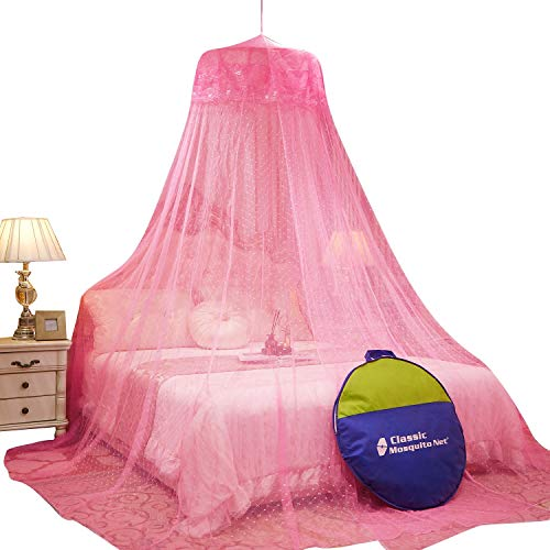 Classic Mosquito Net , Round Ceiling Hanging Double Bed Canopy , Polyester Foldable - 60*260*1200 cm Pink