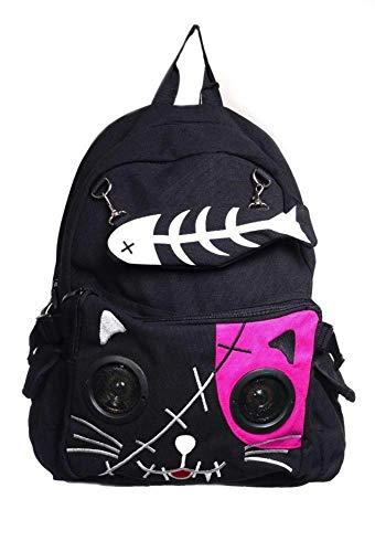 Lautsprecher Rucksack Tasche von Banned Apparel Kitty Ohren AUX universell 3.5mm Jack - Rose, Standard