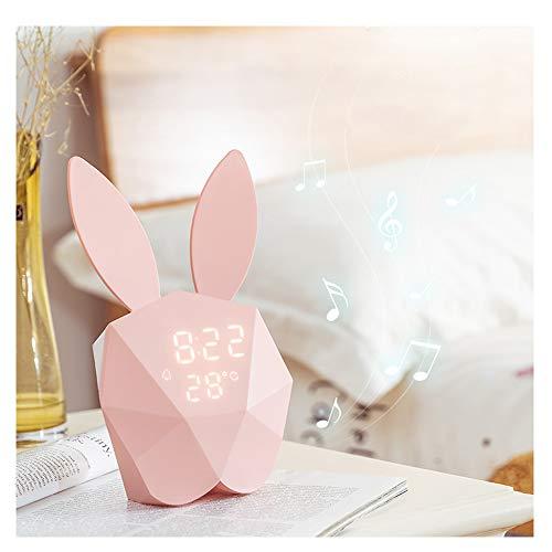 ZHANG Mini konijnen, kinderwekker wandklok schattig nachtlampje tafelklok ontwaken licht karikatuur haas nacht tafellamp voor kinderen volwassenen moeder (roze), A