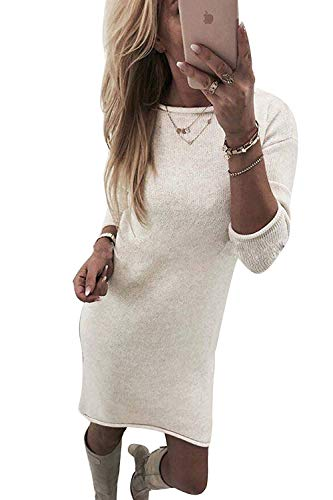Yidarton Winter Damen Pullover Sweater Strickkleid Warm Elegant Langarm Strickpullover Lang (Wei?, X-Large)