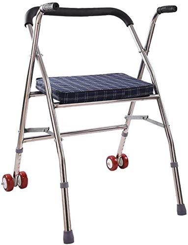 ZGYQGOO Andador Equipo rehabilitación para Ancianos Andador con Ruedas Auxiliar Caminante Plegable con Silla Ruedas