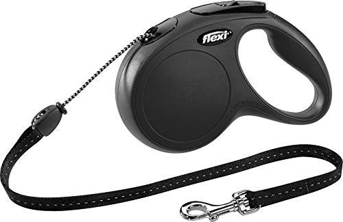 flexi Roll-Leine New Classic M Seil 5 m schwarz für Hunde bis max. 20 kg