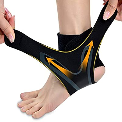 LHB Ankle Support Brace, Adjustable Ankle Brace with Breathable & Elastic Nylon Material, Comfortable Ankle Wrap Sports Protect Against Chronic Ankle Strain Sprains Fatigue Fits All (1 Pair) (M)